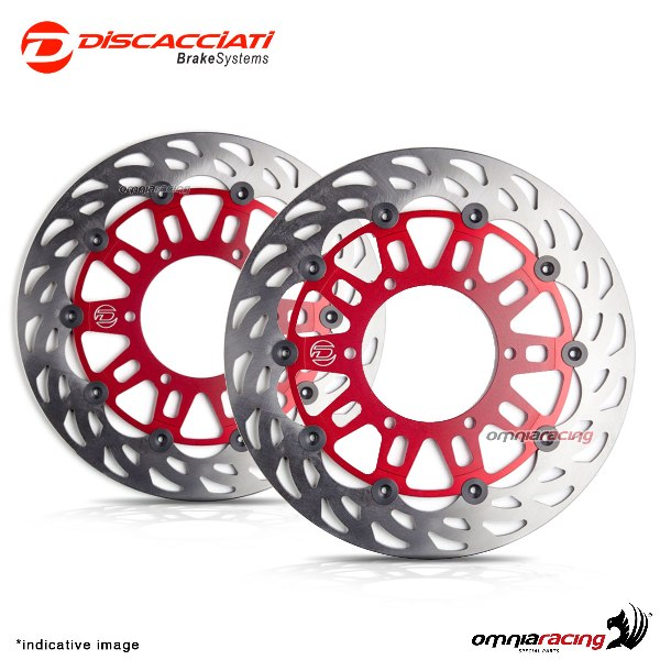 Pair of front floating discs Discacciati light diameter 310mm red for  Suzuki GSXR1100 1988>1995