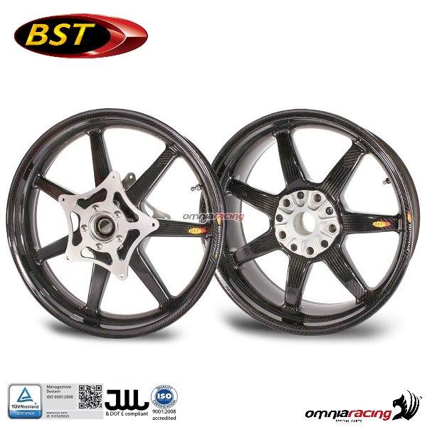 Pair Of Carbon Fiber Wheels Bst Black Panther 3 5x17 6x17 For Bmw Hp2 Sport Megamoto 2008 2009