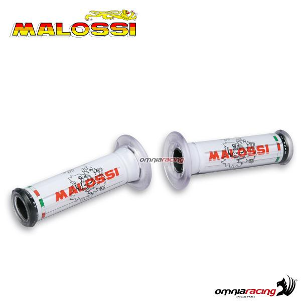 Pair of universal Malossi rubber grips white color with holes & logos