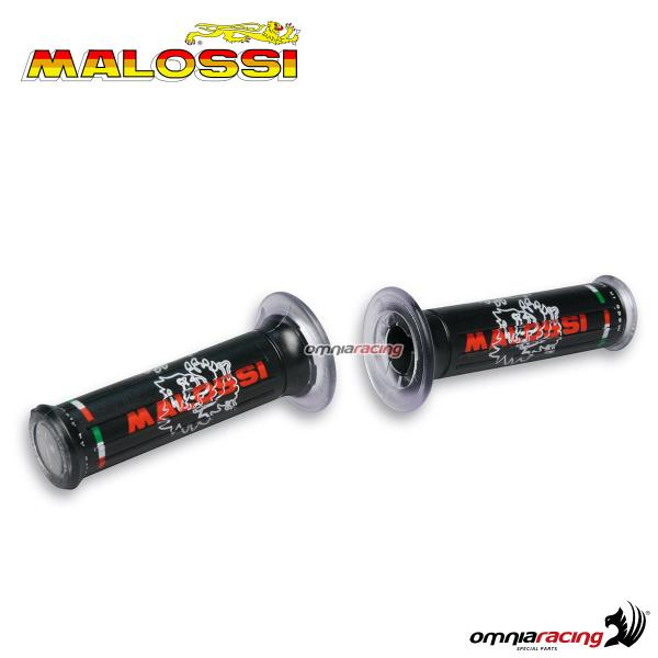 Pair of universal Malossi rubber grips black color with logos
