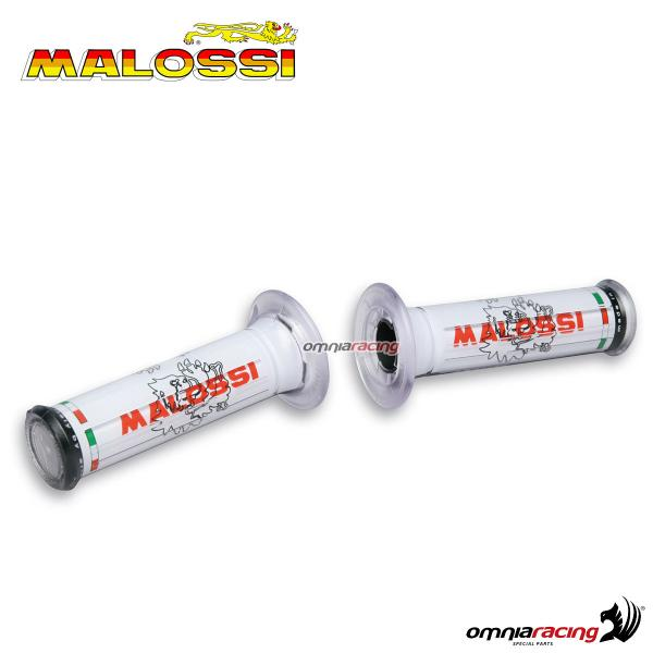 Pair of universal Malossi rubber grips white color with logos