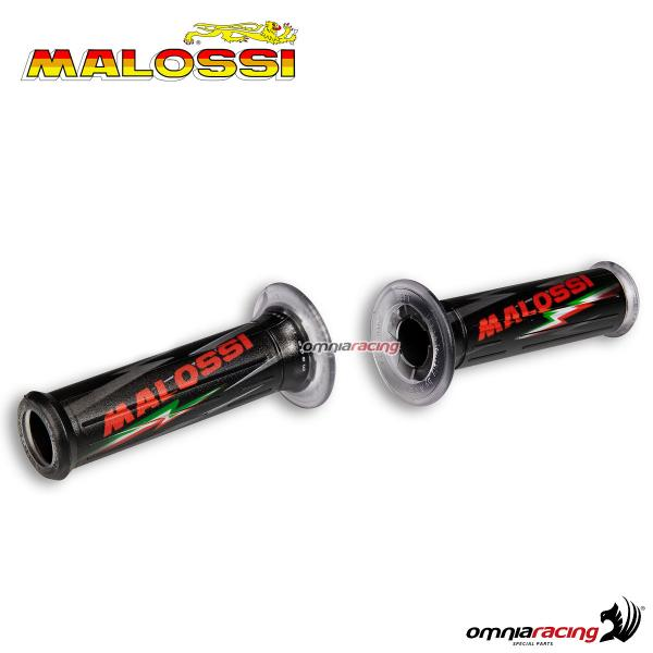 Pair of universal Malossi rubber grips black color with holes & logos