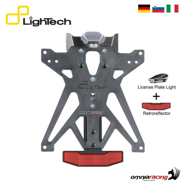 Portatarga Lightech regolabile A1 con luce e catadiottro per KTM Duke 690 2012>2016