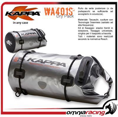 Quemar cemento étnico  Kappa Wa401s - 30lt Waterproof Tail Roll Bag Silver Colour Saddle Bag -  Wa401s - Accessories - Cases