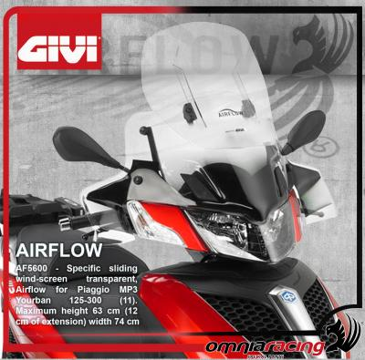 GIVI Airflow AF5600 - Height Adjustable / Sliding Wind Screen for Piaggio MP3 Yourban 125/300 11>16