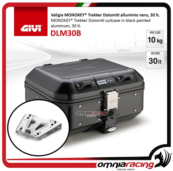 Rear top case kit Givi DLM30B DOLOMITI Black and plate BMW S1000XR 15>17