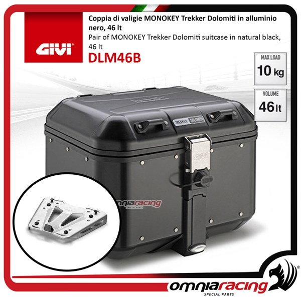 Rear top case kit Givi DLM46B DOLOMITI Black and plate BMW S1000XR 15>17