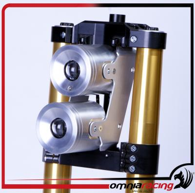 Double light Pistons Omnia Racing , piston look kit with brushed stainless steel bracket .