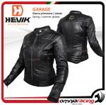 "Hevik ""GARAGE"" lady leather jacket with homologated protection and removable thermal lining black"