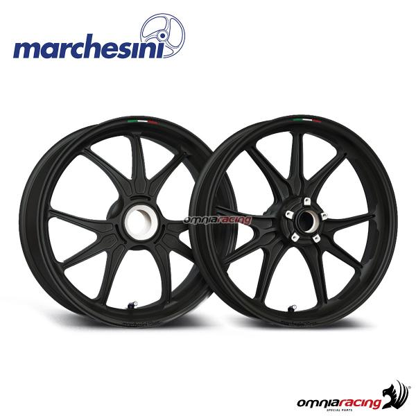 Pair of Marchesini M9RS Corse wheels polished black forged magnesium Ducati Streetfighter V4/S 20>