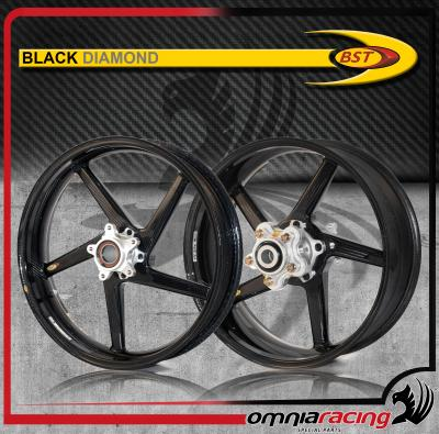 Bst Carbon Fiber Wheels Pair For Ducati 900 900SS 1000SS Black Diamond 5 Spoke