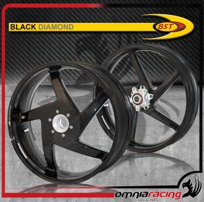 Bst Carbon Fiber Wheels Pair For Ducati Monster 796 1100 S Evo Black
