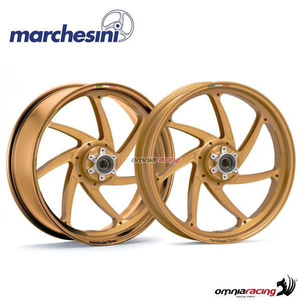 Pair of wheel Marchesini Genesi M7RS forged aluminum Gold for Suzuki GSXR600/GSXR750 2011>