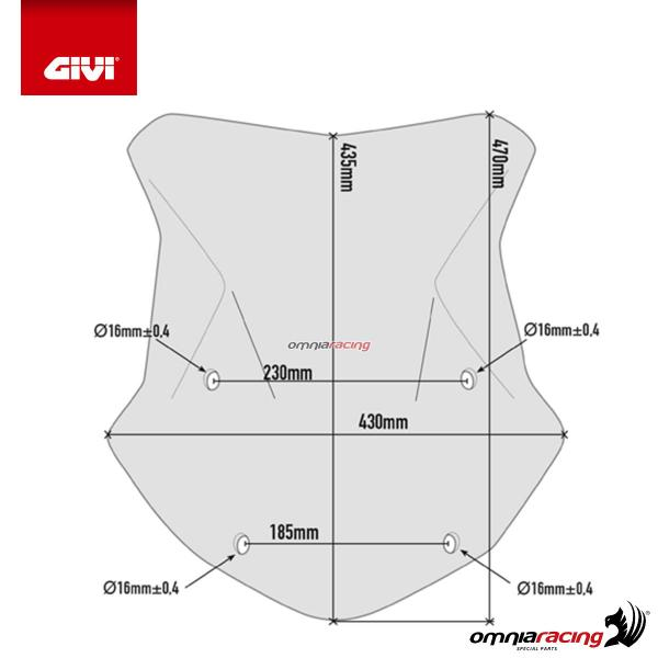 GIVI 5124D Smoked fume/' Spoiler Wind Screen cm BMW R1200GS 2016/>