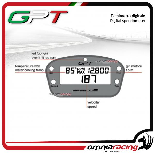 GPT SP2002CC - Digital Dash complete kit with wiring and speed sensor Hall  effect