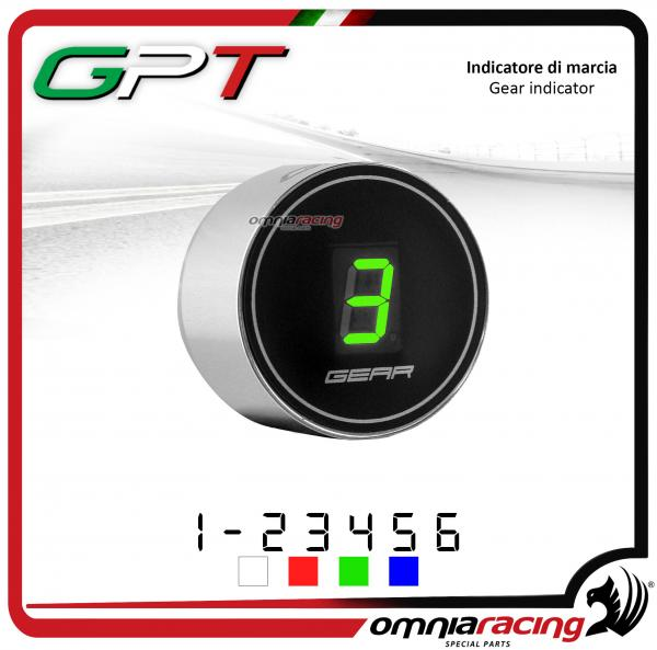 Contamarce GPT plug & play indicatore di marcia argento led verde per Yamaha FZ6 NO ABS 1998>2010
