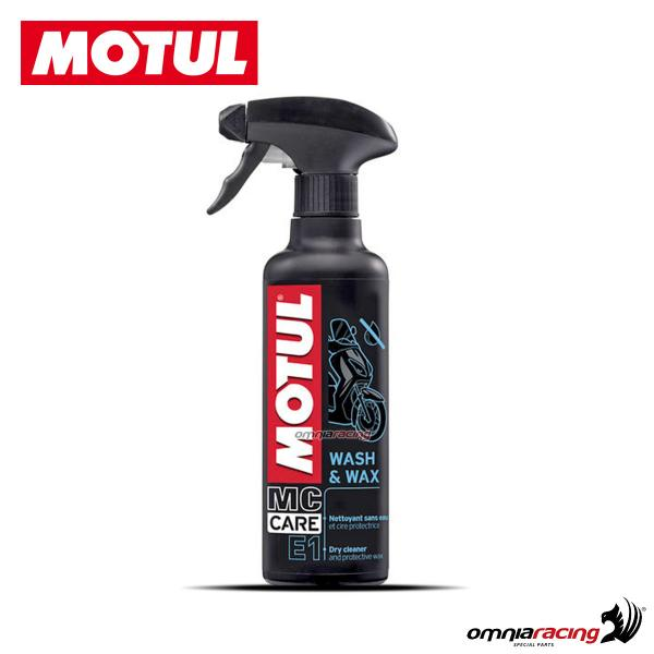 Pulitore a secco con cera 2 in 1 Motul Wash&Wax MC CARE E1 per plastica e carbonio 400ml