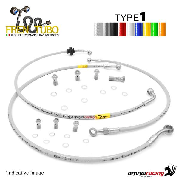 Frentubo kit brake hose aeronautical braided type 1 in steel for Honda CB600F HORNET 2007>2011