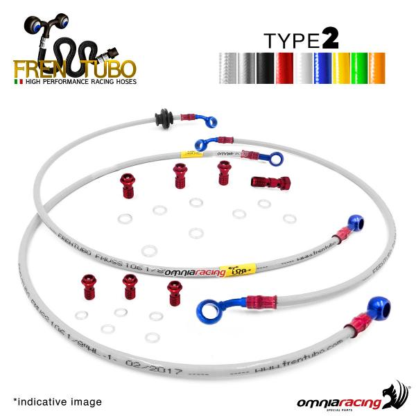 Frentubo kit brake hose aeronautical braided type 2 in steel for Honda CB600F HORNET 2007>2011