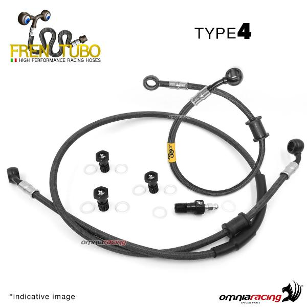 Frentubo kit brake hose aeronautical braided type 4 in carbon for Honda CB600F HORNET 2007>2011