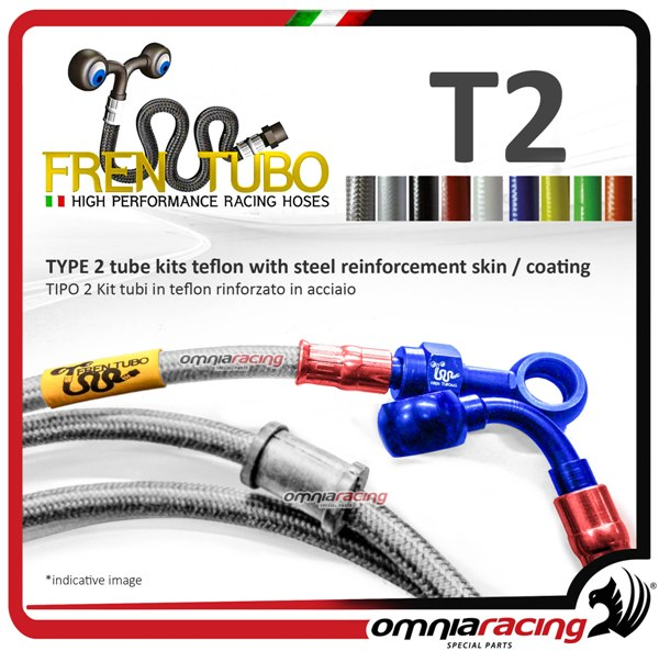 Frentubo kit brake hose aeronautical braided type 2 in steel for Yamaha  MBK50 STUNT 2007