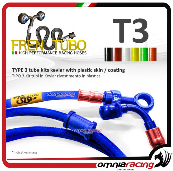 Frentubo kit tubi freno in treccia aeronautica tipo 3 in kevlar per KTM 690 DUKE BLACK ABS 2015