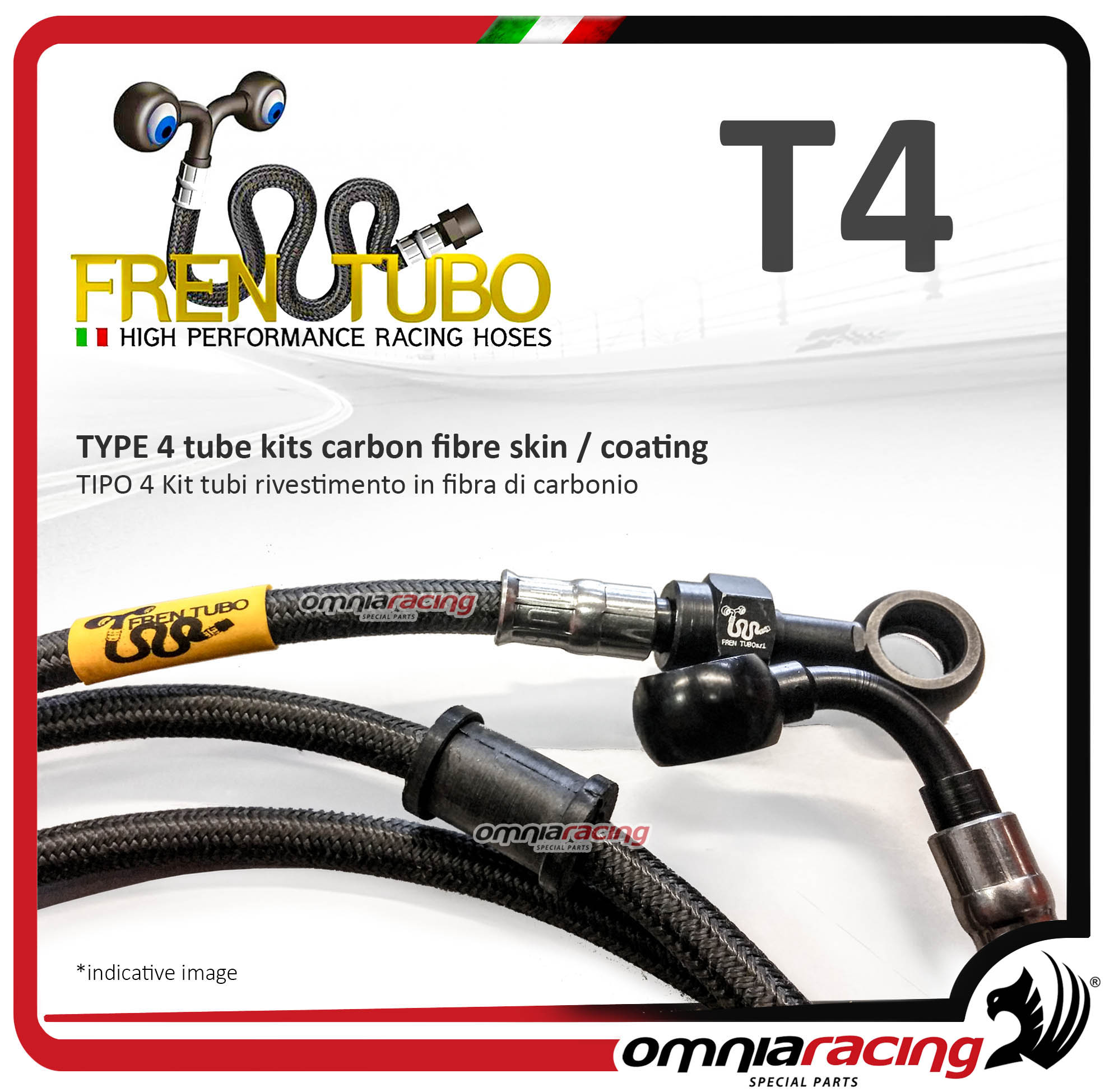 Frentubo kit tubi freno in treccia aeronautica tipo 4 in carbonio per KTM 690 DUKE BLACK ABS 2015