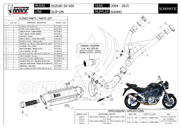 mivv suono steel black - slip on exhaust system for suzuki sv650 s 2004 04 07 - s 015 l9