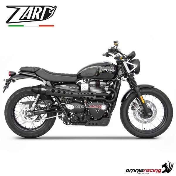 Zard full exhaust system black steel silencer non homologated for Triumph Scrambler 900