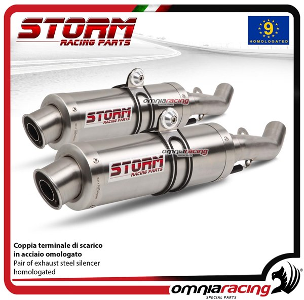 Storm GP pair of stainless steel exhaust slip-on homologated APRILIA TUONO  Fighter 1000 2006>2010