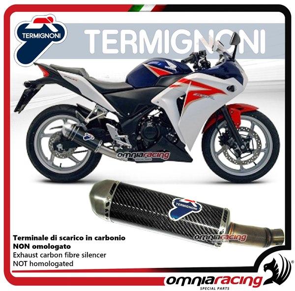 Termignoni RELEVANCE carbon fiber exhaust slip-on homologated for Honda  CBR250R 2012>2013