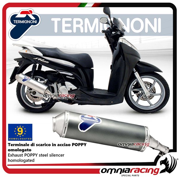 Termignoni Round Exhaust System Carbon Steel Homologated Slip On For Honda Sh 300 07 13 H104080inr
