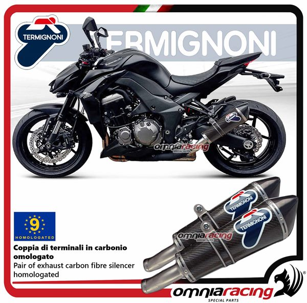 Termignoni CONICAL pair of exhaust in carbon homologated for Kawasaki Z1000  2010>2014
