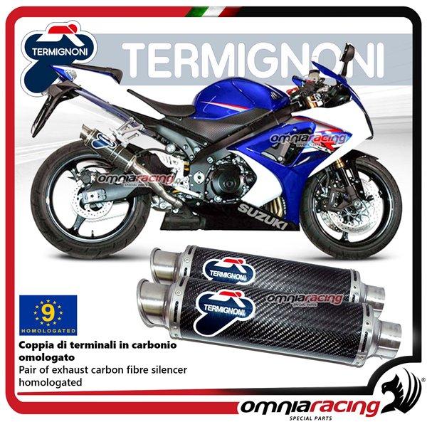 Termignoni ROUND pair of exhaust in carbon homologated for Suzuki GSXR1000  2007>2008