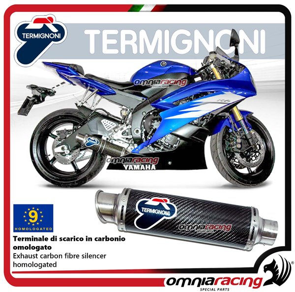 Termignoni ROUND carbon fiber exhaust slip-on homologated for Yamaha R6  2006>2016