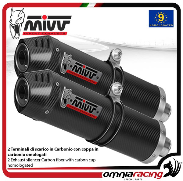MIVV OVAL pair of exhaust homologated carbon underseat for YAMAHA YZF1000  R1 2004>2006