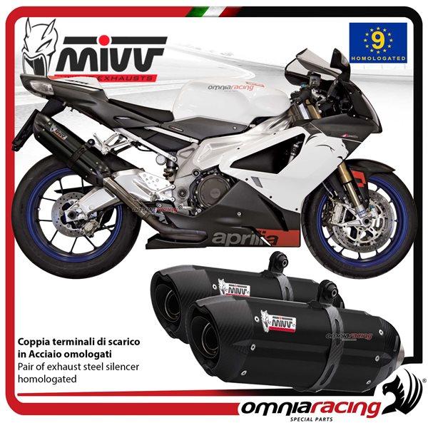MIVV SUONO pair of exhaust homologated black inox for APRILIA TUONO Fighter  1000 2006>2010