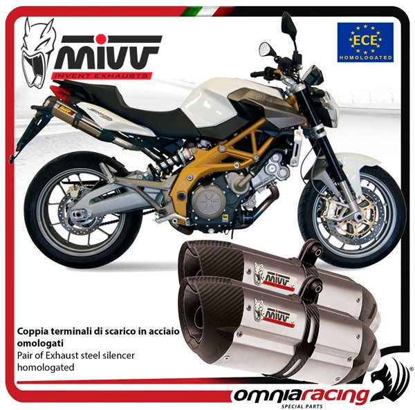 MIVV SUONO pair of exhaust homologated inox for APRILIA SHIVER 750 2008>