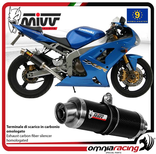 mivv gp carbon - homologated slip on exhaust for kawasaki ninja zx-6 r 636  2003 2004 - k 009 l2s