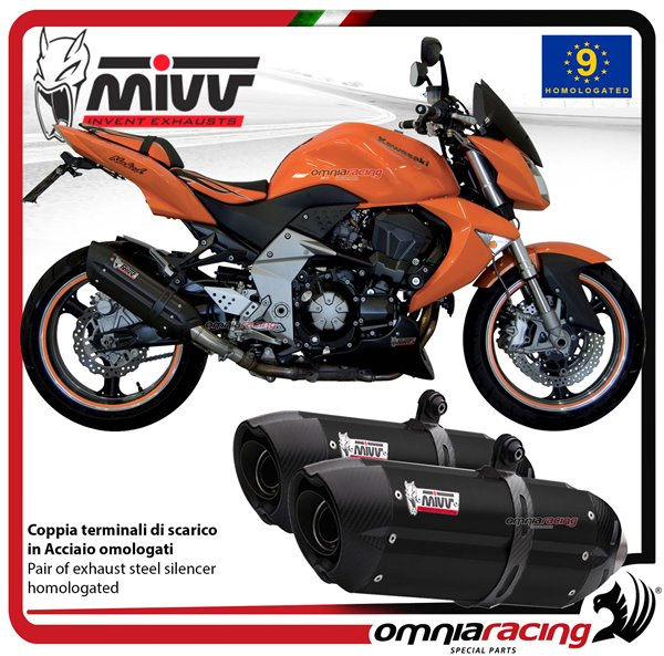 MIVV SUONO pair of exhaust homologated black inox for KAWASAKI Z1000 2007>2009
