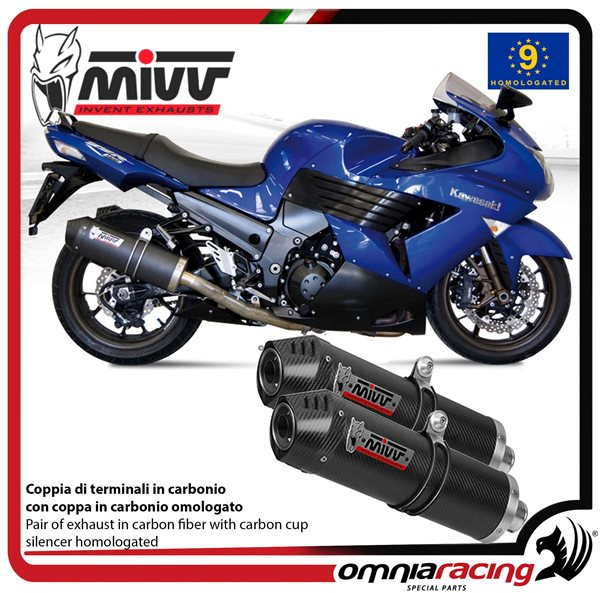 MIVV OVAL pair of exhaust homologated carbon for KAWASAKI ZZR1400 2006>2007