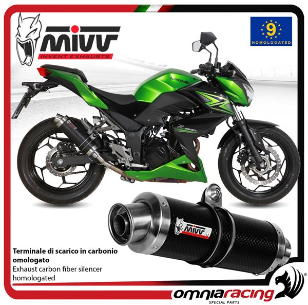 Mivv Gp Exhaust Slip On Homologated Carbon For Kawasaki Z300 2015