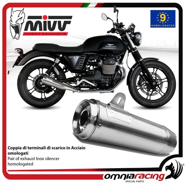 Mivv Ghibli Pair Of Exhaust Homologated Inox For Moto Guzzi V7