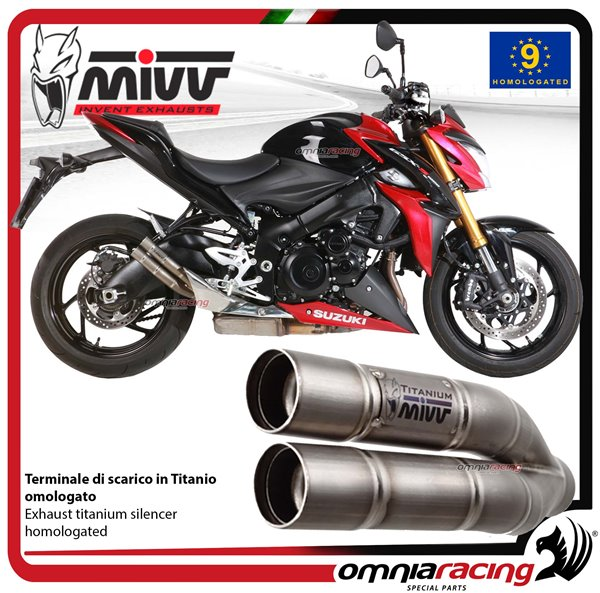 MIVV DOUBLE GUN exhaust slip-on homologated titanium for SUZUKI GSXS1000  2015>