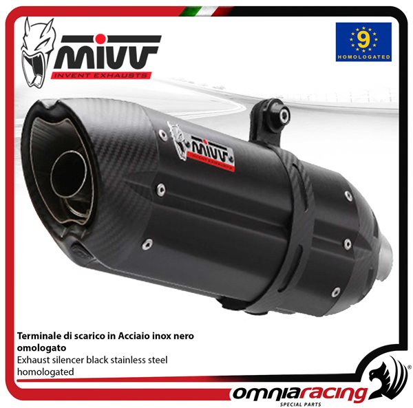 MIVV SUONO exhaust slip-on homologated black inox for HONDA CBR600F 2001>2010