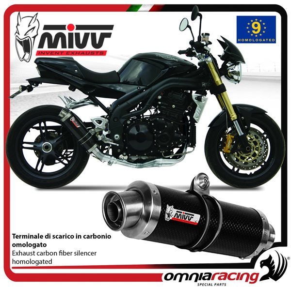 Mivv Gp Carbon Homologated Slip On Exhaust For Triumph Speed
