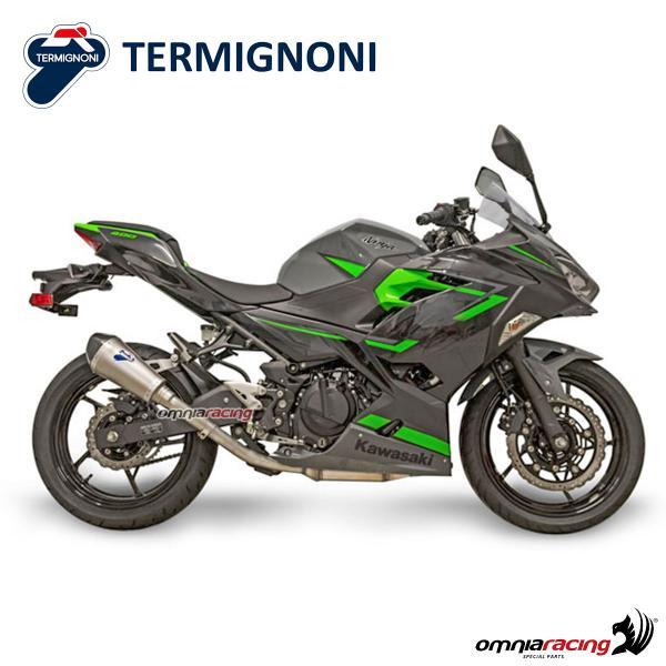 Termignoni RELEVANCE titanium exhaust slip-on racing not homologated for  Kawasaki Ninja 400 18>