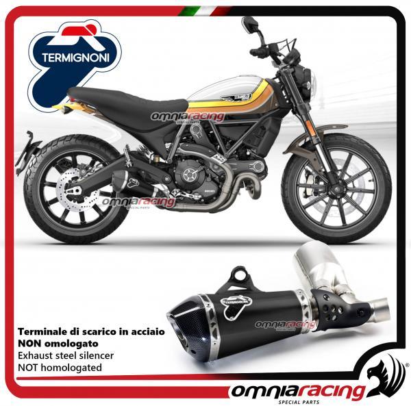 Termignoni D149 exhaust racing not homologated steel black slip-on for  Ducati Scrambler 800 2015>