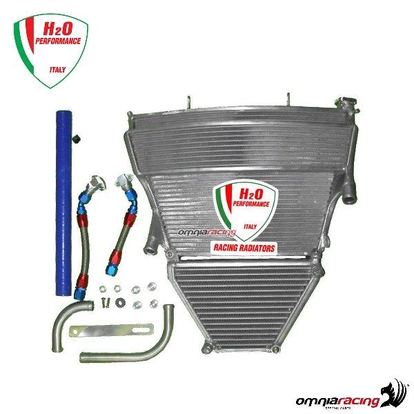 H2O Oversized water + oil radiator + mounting kit for Suzuki GSXR1000 K5/K6