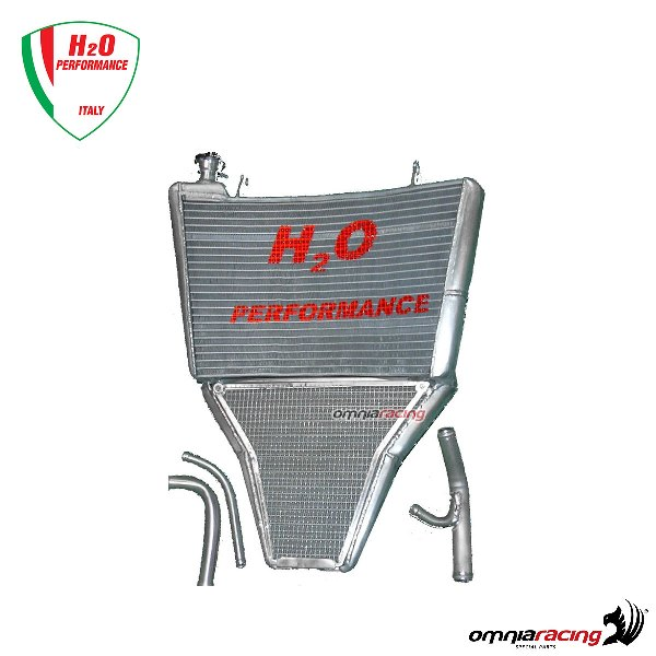 H2O Oversized water radiator + mounting kit (Akrapovic Exhaust) for Yamaha  YZF R6 2003>2005
